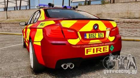 BMW M5 West Midlands Fire Service [ELS] для GTA 4 вид сзади слева
