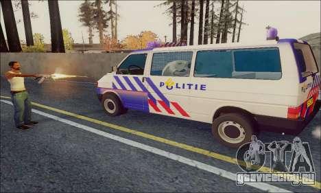 Volkswagen T4 Politie для GTA San Andreas вид сзади слева