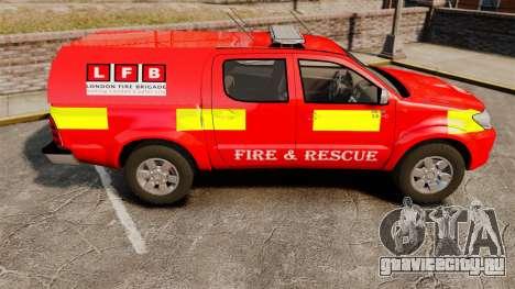 Toyota Hilux London Fire Brigade [ELS] для GTA 4 вид слева