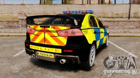 Mitsubishi Lancer Evolution X Uk Police [ELS] для GTA 4 вид сзади слева