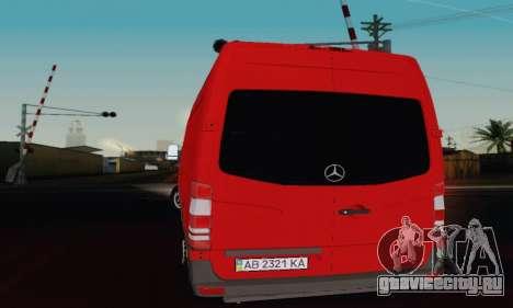 Mersedes-Benz Sprinter для GTA San Andreas вид сзади слева