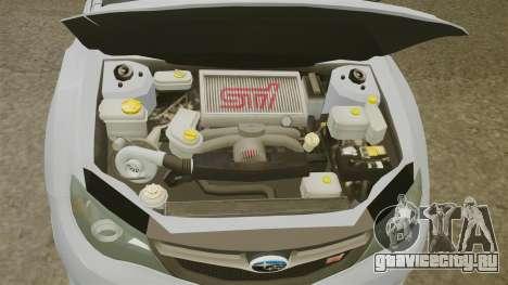 Subaru Impreza 2010 для GTA 4 вид изнутри