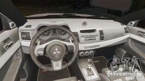 Mitsubishi Lancer Evolution X Police [ELS] для GTA 4 вид изнутри