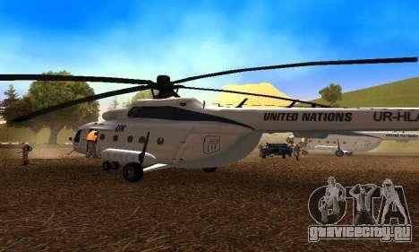 Ми 8 UN (ООН) для GTA San Andreas вид справа