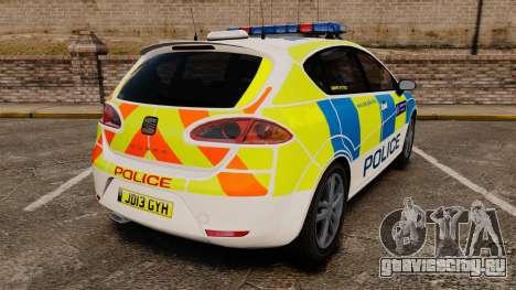 Seat Cupra Metropolitan Police [ELS] для GTA 4 вид сзади слева