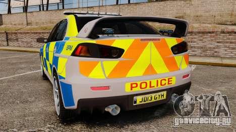 Mitsubishi Lancer Evolution X Police [ELS] для GTA 4 вид сзади слева