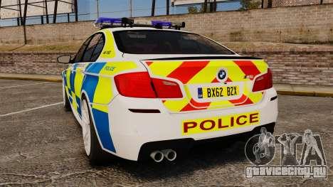 BMW M5 Marked Police [ELS] для GTA 4 вид сзади слева