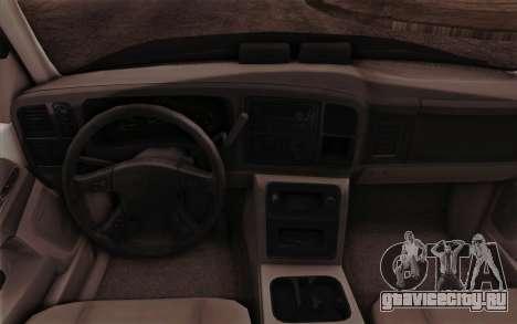 Chevrolet Suburban FBI для GTA San Andreas вид изнутри