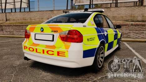 BMW 330i Hampshire Police [ELS] для GTA 4 вид сзади слева