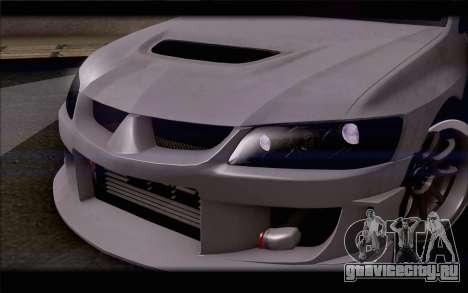 Mitsubishi Lancer Evolution Stance для GTA San Andreas вид изнутри
