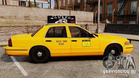 Ford Crown Victoria 1999 NY Old Taxi Design для GTA 4 вид слева