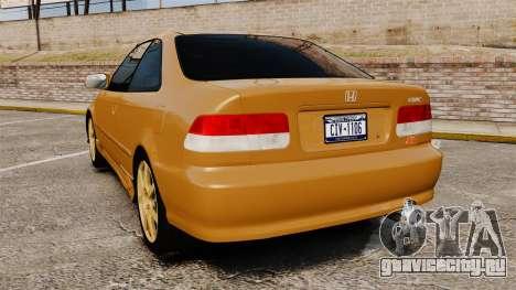 Honda Civic Si 1999 для GTA 4 вид сзади слева
