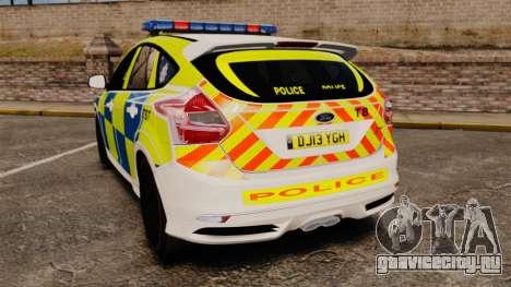Ford Focus 2013 Uk Police [ELS] для GTA 4 вид сзади слева