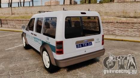 Ford Transit Connect Turkish Police [ELS] для GTA 4 вид сзади слева