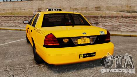 Ford Crown Victoria 1999 NYC Taxi для GTA 4 вид сзади слева