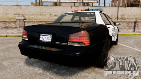 GTA V Vapid Steelport Police Cruiser [ELS] для GTA 4 вид сзади слева