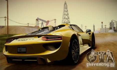 Porsche 918 Spyder 2014 для GTA San Andreas вид изнутри