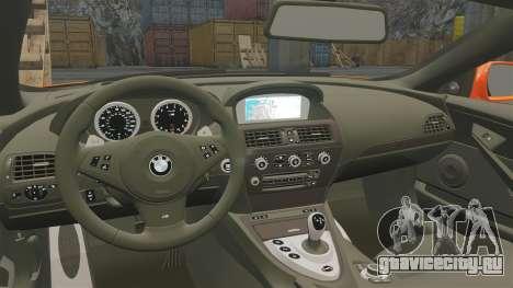 BMW M6 для GTA 4 вид изнутри