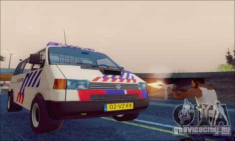 Volkswagen T4 Politie для GTA San Andreas вид изнутри