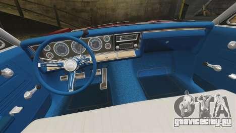 Chevrolet Impala 1967 для GTA 4 вид изнутри