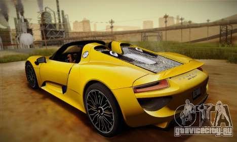 Porsche 918 Spyder 2014 для GTA San Andreas вид сбоку