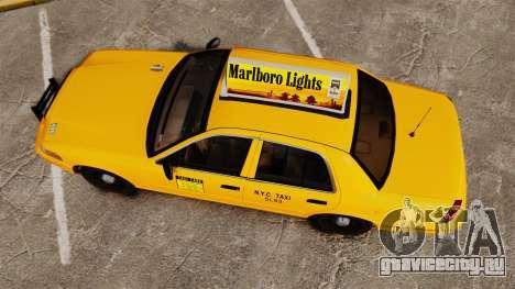 Ford Crown Victoria 1999 NY Old Taxi Design для GTA 4 вид справа