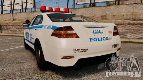 GTA V Police Vapid Interceptor NYPD для GTA 4 вид сзади слева