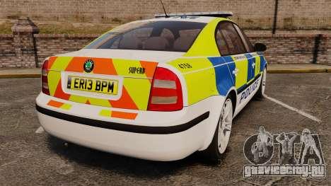 Skoda Superb 2006 Police [ELS] Whelen Justice для GTA 4 вид сзади слева
