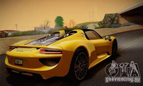 Porsche 918 Spyder 2014 для GTA San Andreas вид снизу