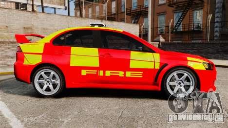 Mitsubishi Lancer Evo X Fire Department [ELS] для GTA 4 вид слева