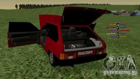 ВАЗ-2108 для GTA San Andreas вид изнутри