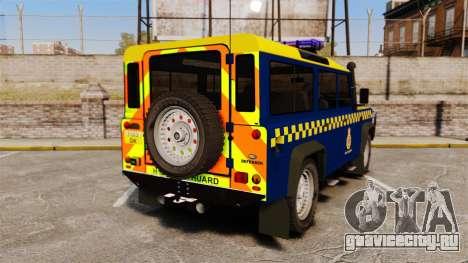 Land Rover Defender HM Coastguard [ELS] для GTA 4 вид сзади слева