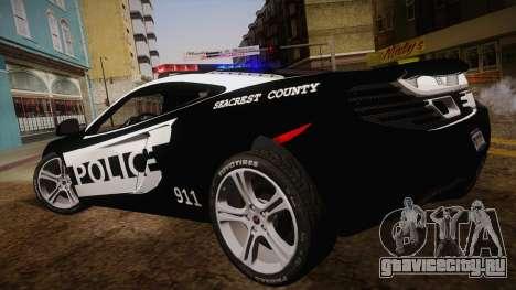 McLaren MP4-12C Police Car для GTA San Andreas вид слева