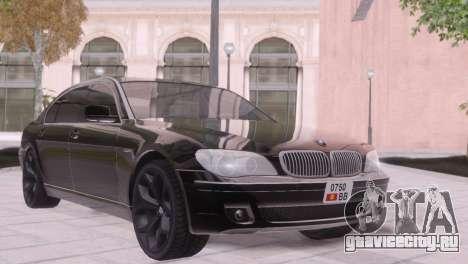 BMW 750Li E66 для GTA San Andreas вид изнутри