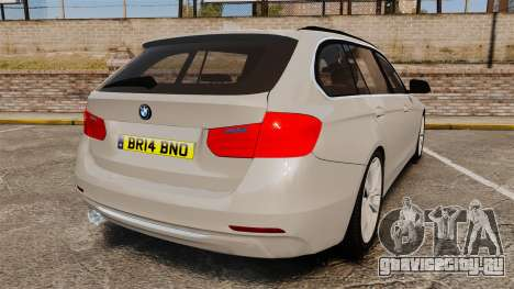 BMW 330d Touring (F31) 2014 Unmarked Police ELS для GTA 4 вид сзади слева