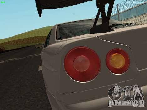 Nissan Skyline BNR34 для GTA San Andreas вид сзади