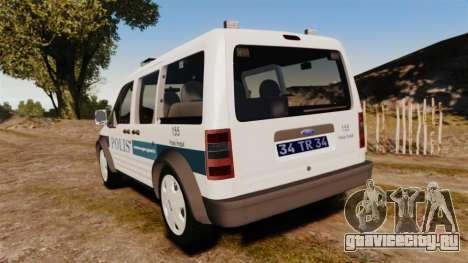 Ford Transit Connect Turkish Police [ELS] v2.0 для GTA 4 вид сзади слева