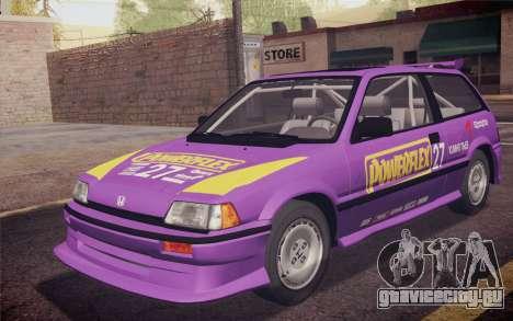 Honda Civic S 1986 IVF для GTA San Andreas салон