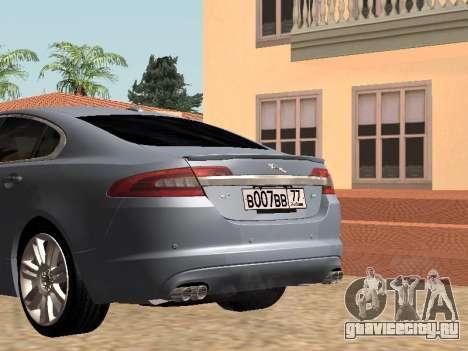 Jaguar XFR 2010 для GTA San Andreas вид сзади слева