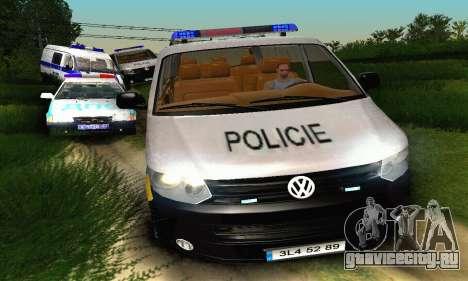 Volkswagen Transporter Policie для GTA San Andreas вид изнутри