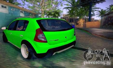 Dacia Sandero для GTA San Andreas вид сзади слева
