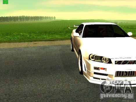 Nissan Skyline R34 GT-R для GTA San Andreas вид сзади слева