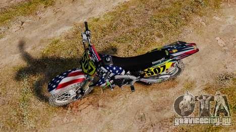 Kawasaki KX250F USA для GTA 4 вид справа