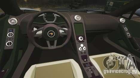 McLaren MP4-12C Spider 2013 для GTA 4 вид изнутри
