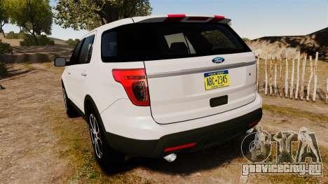 Ford Explorer Sport 2014 для GTA 4 вид сзади слева