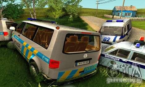 Volkswagen Transporter Policie для GTA San Andreas вид снизу