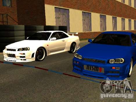 Nissan Skyline R34 GT-R для GTA San Andreas вид изнутри