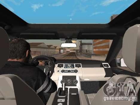 Range Rover Sport 2011 для GTA San Andreas вид изнутри