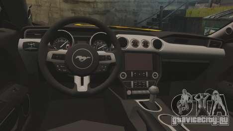 Ford Mustang GT 2015 v2.0 для GTA 4 вид изнутри