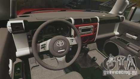 Toyota FJ Cruiser 2012 для GTA 4 вид сзади